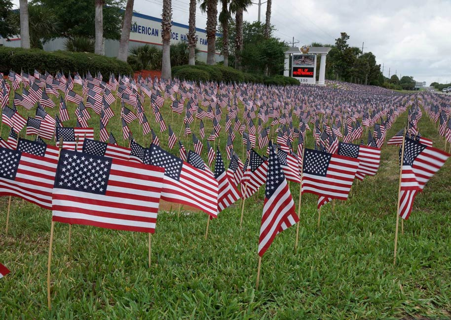 American Police Hall of Fame in Titusville FL decorated with 11,000 U.S. Stick Flags
